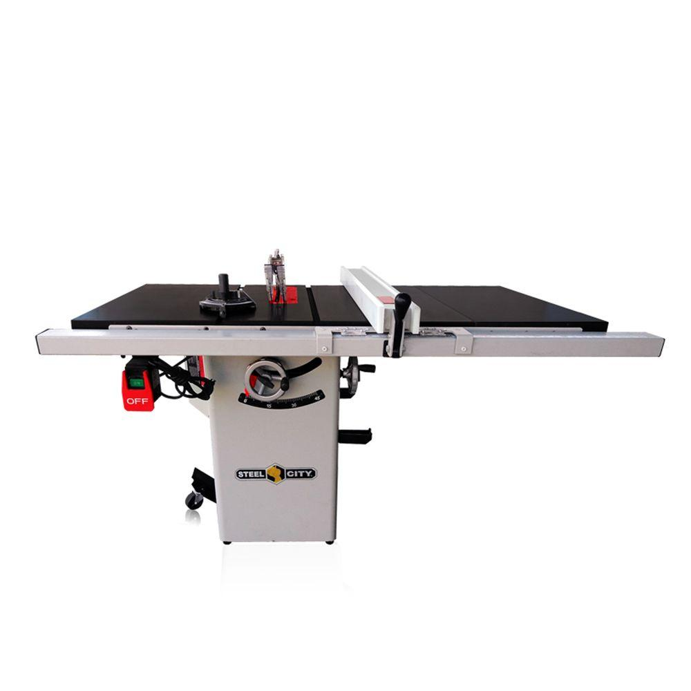 Steel City 10 in. 1.75 HP 30 in. Industrial Fence System Left Tilt Riving Knife Granite Cabinet Saw