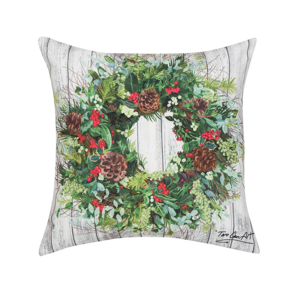 Green Christmas Wreath Indoor/Outdoor 18 in. x 18 in. Standard Throw Pillow