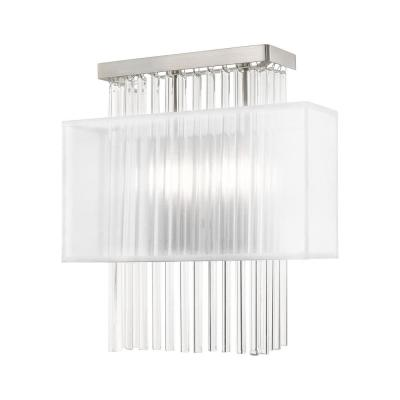 Alexis 6.75 in. Brushed Nickel Sconce with Translucent Fabric Shade