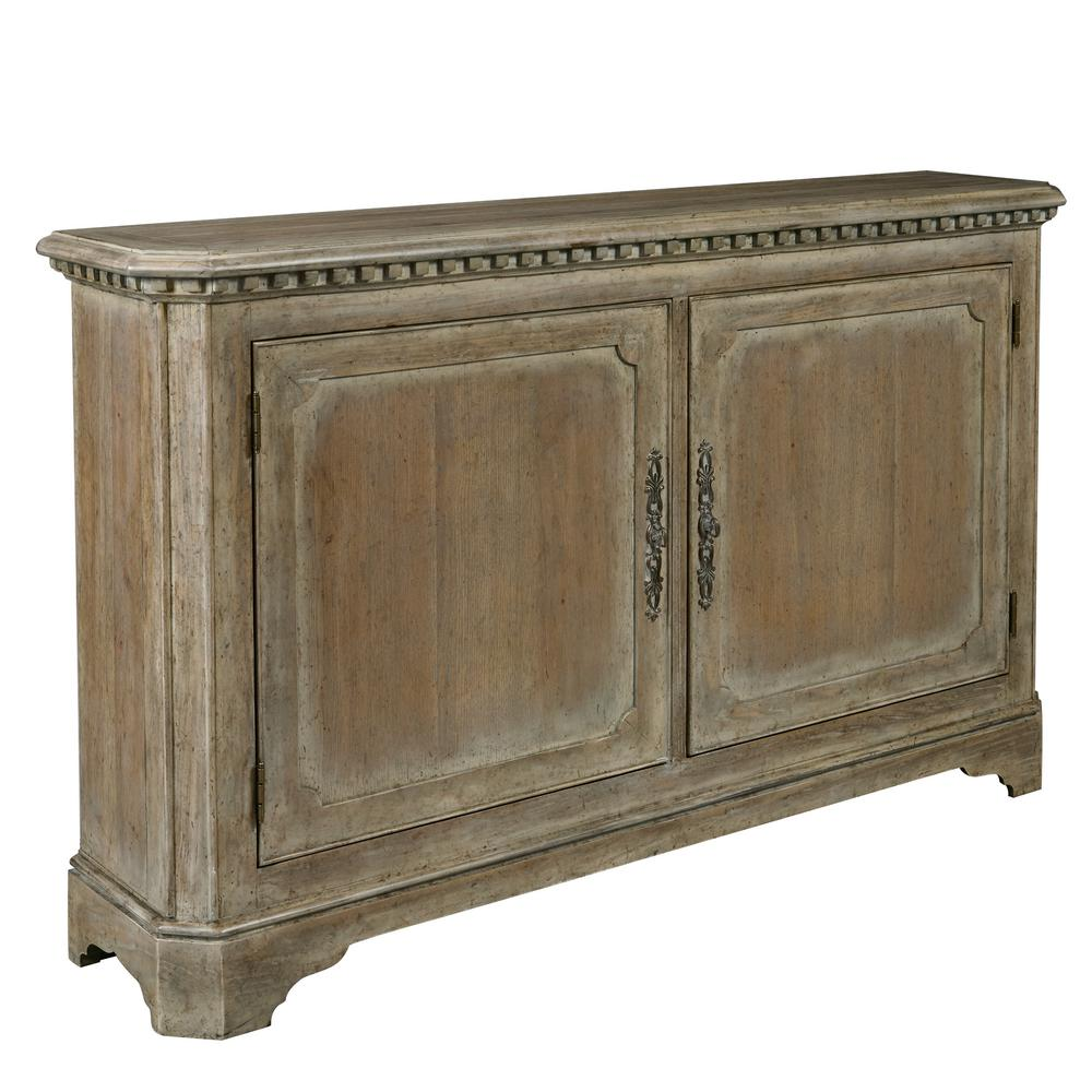 Hand Painted Traditional Brown Distressed 2-Door Accent Storage Console  with Brass Hardware