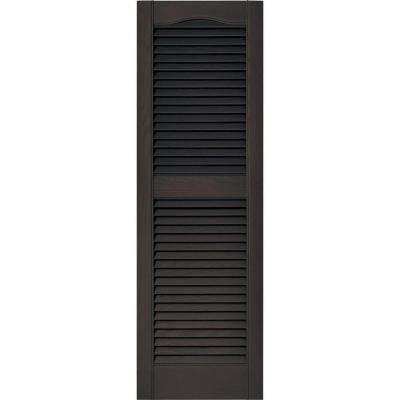 15 in. x 48 in. Louvered Vinyl Exterior Shutters Pair in #010 Musket Brown