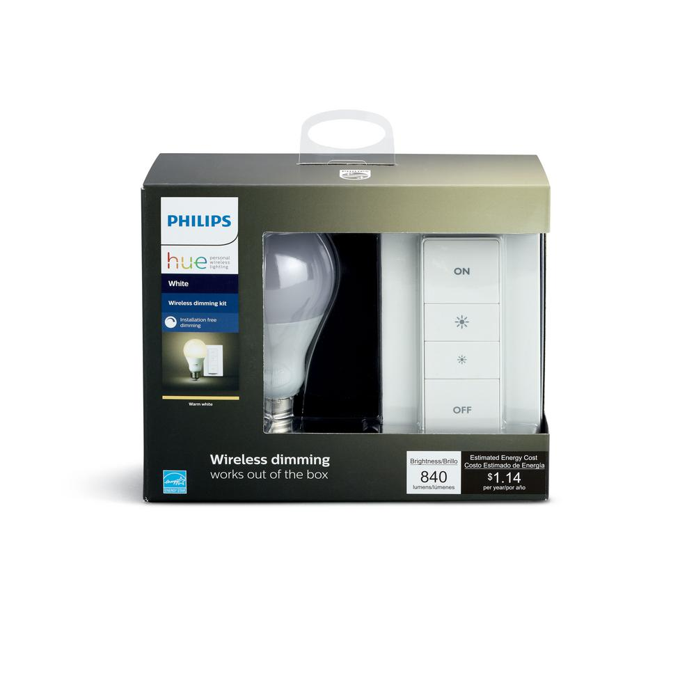 Philips Hue Smart Wireless Dimming Kit (1 A19 LED 60W Equivalent Warm White  Bulb, and Remote Dimmer Switch)