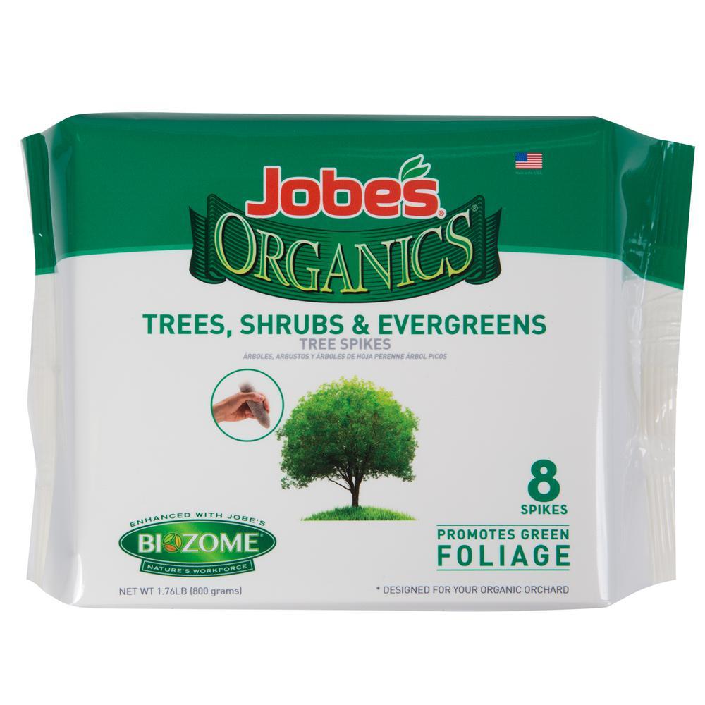 Jobe's Organics 1.76 lb. Organics Tree, Shrub and Evergreen Fertilizer Spikes with Biozome, OMRI Listed (8-Pack)
