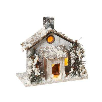 20 in. H Wood House With PVC Trees