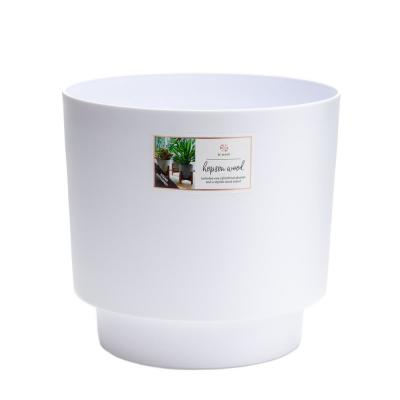 Hopson Medium 10 in. Casper White Plastic Planter with Wood Stand