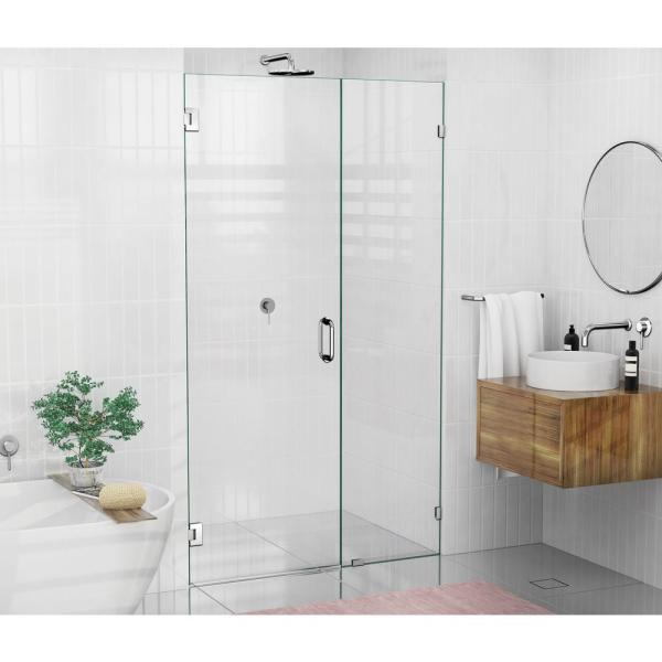Glass Warehouse 44 75 In X 78 In Frameless Pivot Wall Hinged Shower Door In Chrome With Handle Gw Wh 44 75 Ch The Home Depot