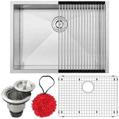Pacific Zero Radius Undermount 16-Gauge Stainless Steel 26 in. Single Basin Kitchen Sink with Accessory Kit