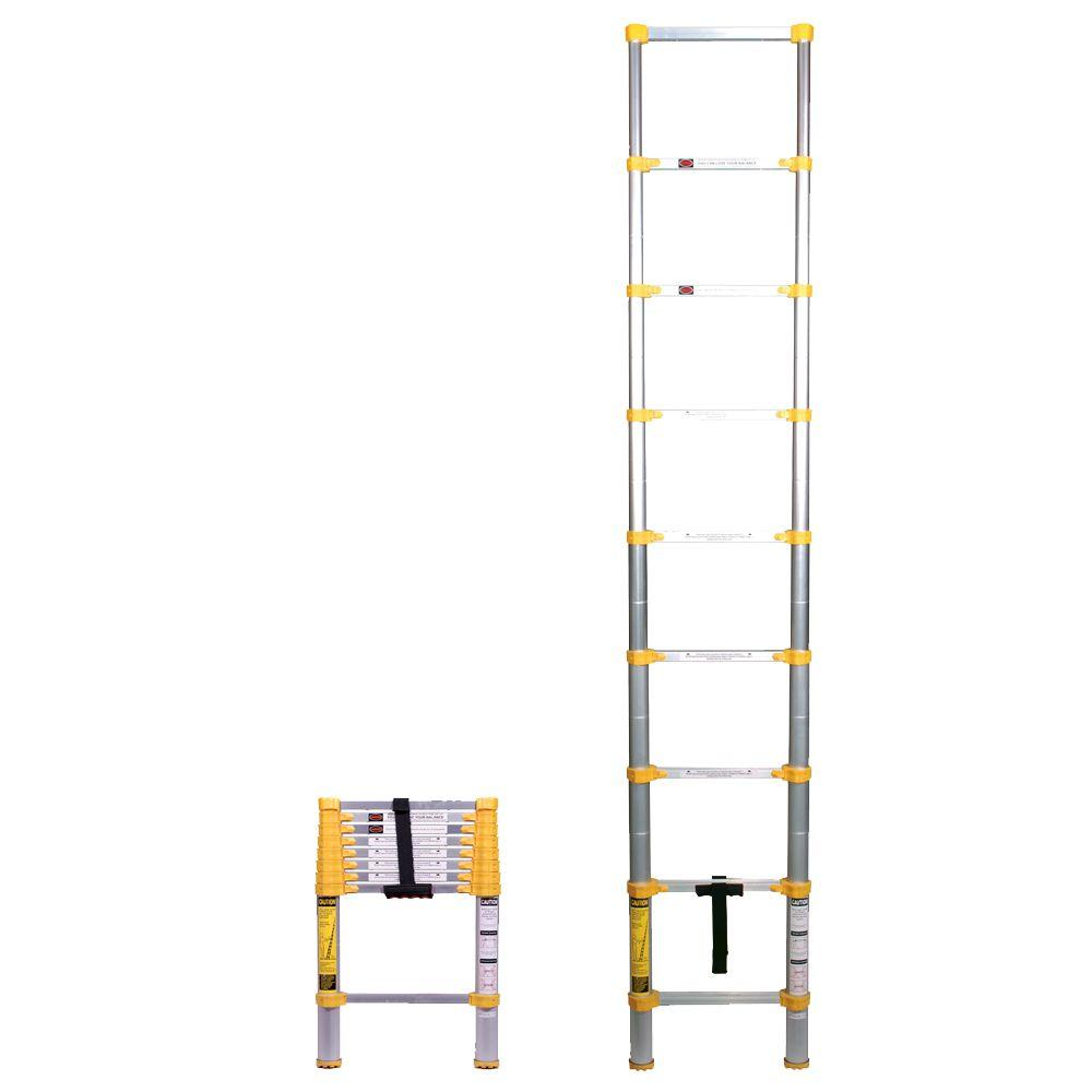 8 5 Ft Telescoping Aluminum Extension Ladder With 225 Lbs Load