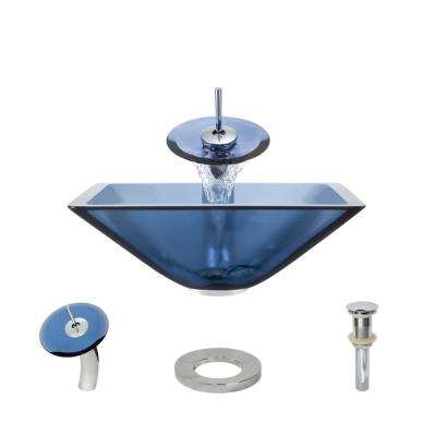 Glass Vessel Sink in Celeste with Waterfall Faucet and Pop-Up Drain in Chrome