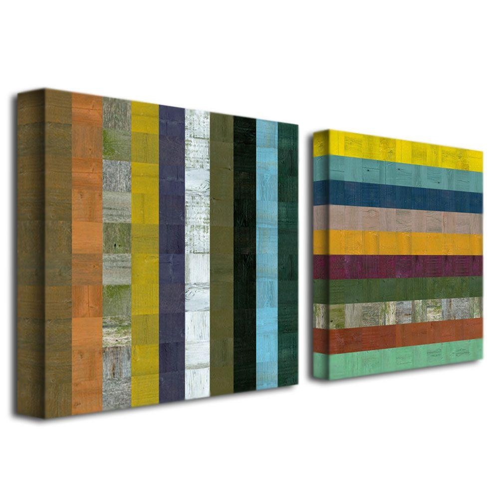 Trademark Fine Art Wooden Abstract VI by Michelle Calkins 2-Panel Wall Art Set