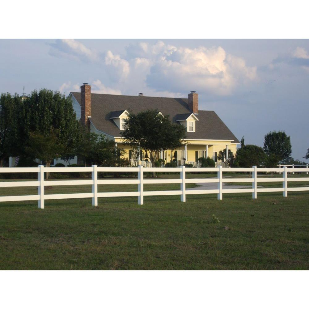 Weatherables 4 ft. H x 8 ft. W 3-Rail Vinyl Fence Panel EZ Pack on