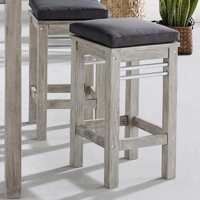 Wiscasset Acacia Wood Outdoor Bar Stool in Light Gray with Gray Cushions