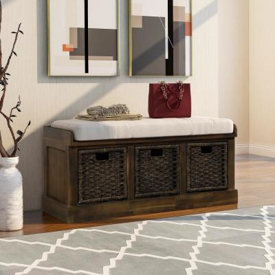 Dark Brown Entryway Storage Bench with Removable Cushion and 3-Removable Classic Fabric Basket