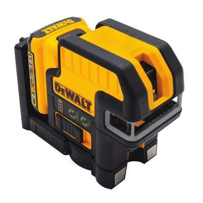 12-Volt MAX Lithium-Ion 100 ft. Green Self-Leveling 2-Spot & Cross Line Laser with Battery 2Ah, Charger, & TSTAK Case