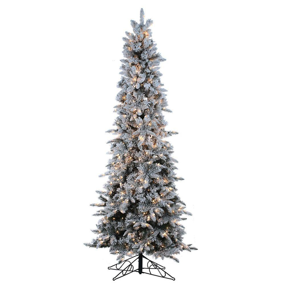 Sterling 9 ft. Pre-Lit Flocked Narrow Pencil Pine Artificial ...