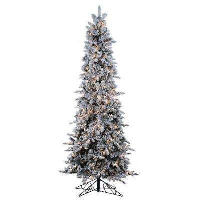 9 ft. Pre-Lit Flocked Narrow Pencil Pine Artificial Christmas Tree with Clear Lights
