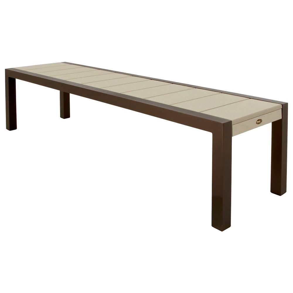 Trex Outdoor Furniture Surf City 68 In Textured Bronze Patio Bench With Sand Castle Slats Tx3810 16sc The Home Depot
