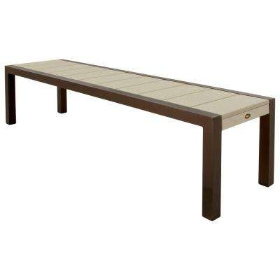 Surf City 68 in. Textured Bronze Patio Bench with Sand Castle Slats
