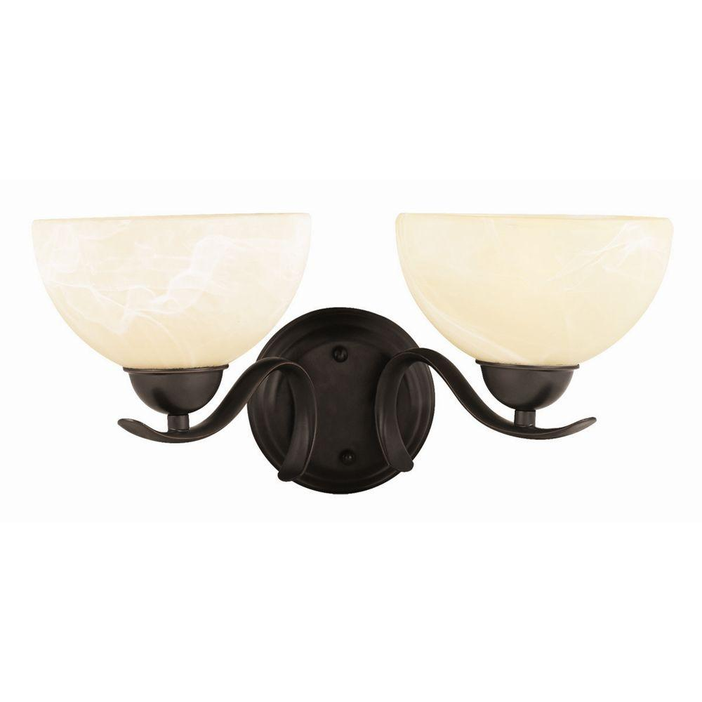 Wall Sconces Oil Rubbed Bronze : Design House Trevie 2-Light Oil-Rubbed Bronze Wall Mount Sconce-517458 - The Home Depot