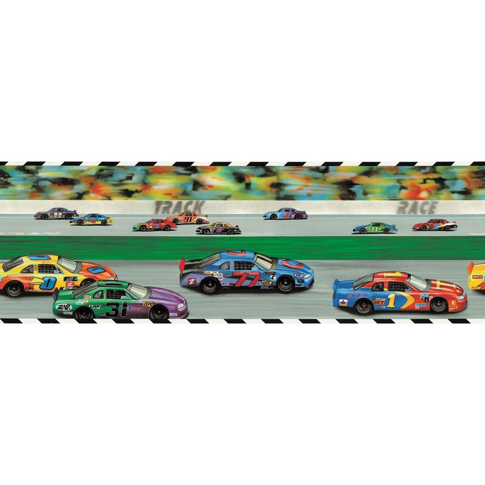 The Wallpaper Company 9 in. x 15 ft. Brightly Colored Race Track Border