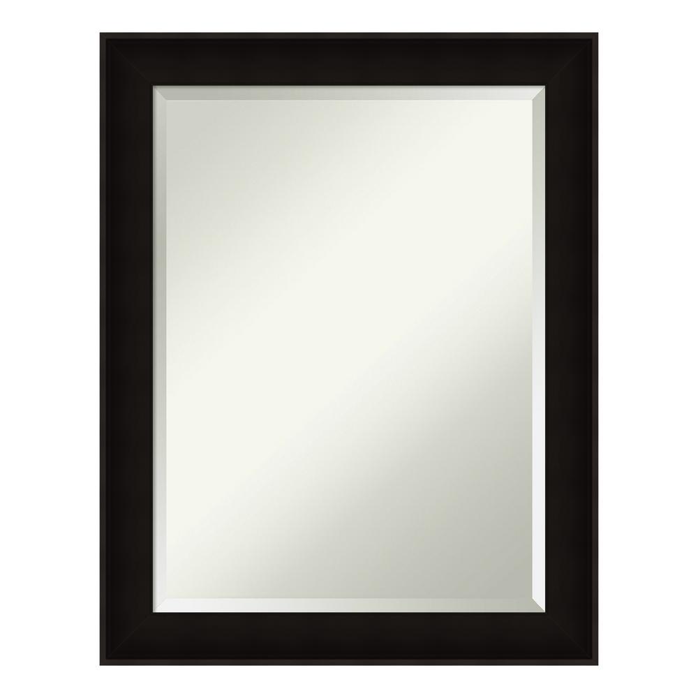 Manteaux Black Wood 22 in. x 28 in. Contemporary Bathroom Vanity Mirror