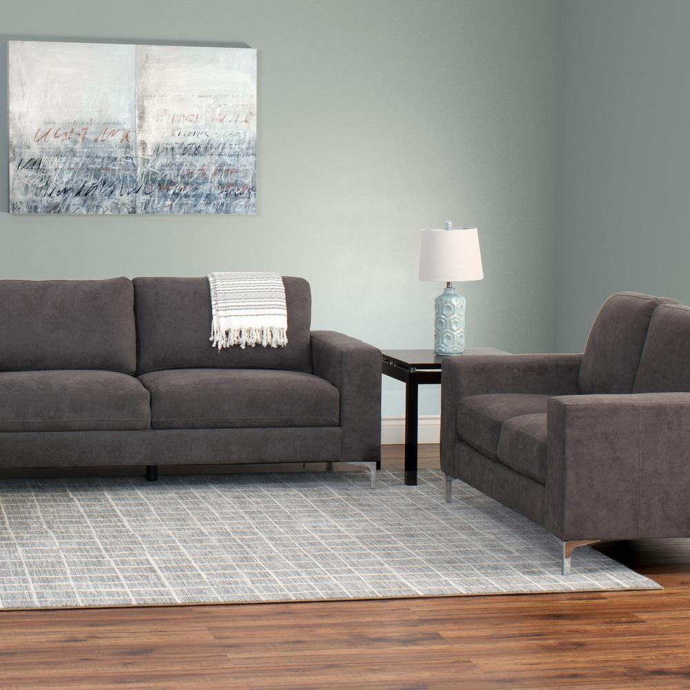 CorLiving Cory 2 Piece Contemporary Grey Chenille Fabric Sofa Set