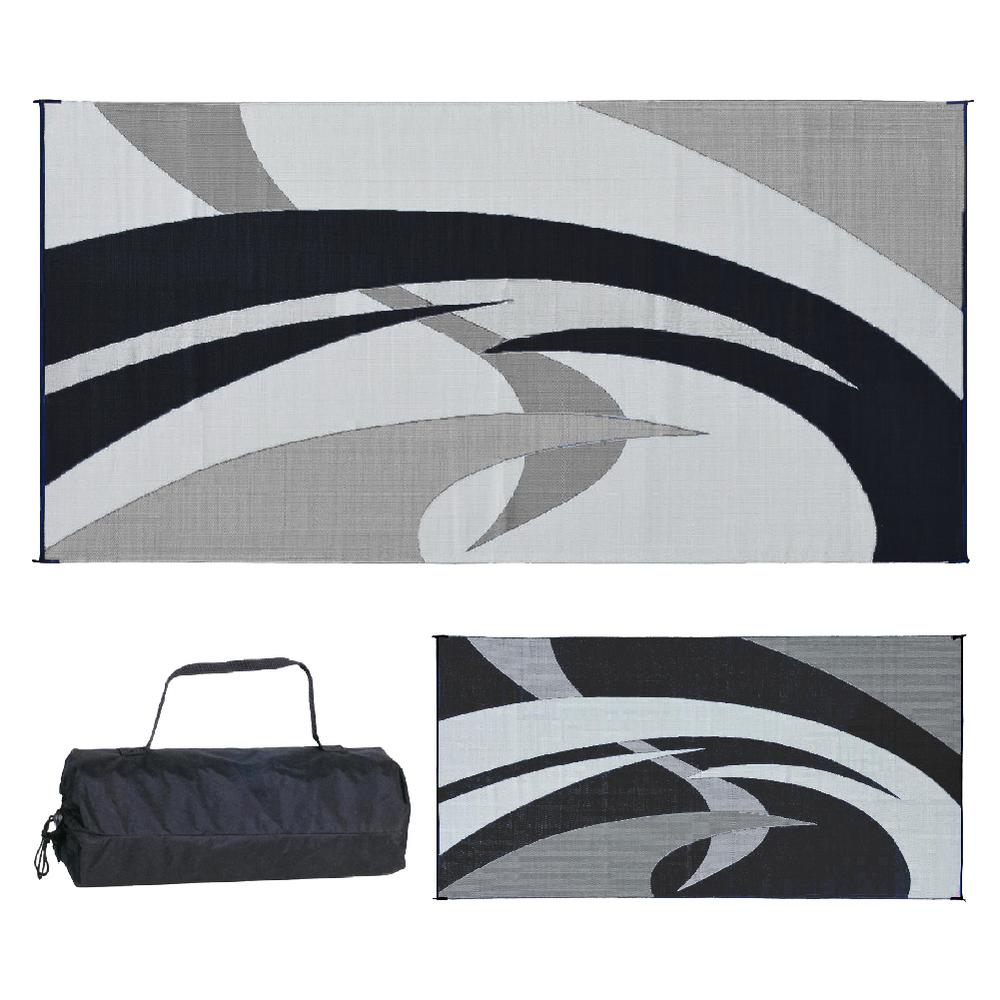 Reversible Mats 9 ft. x 18 ft. Reversible Mat - Swirl Black/White