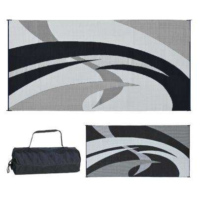 9 ft. x 18 ft. Reversible Mat - Swirl Black/White