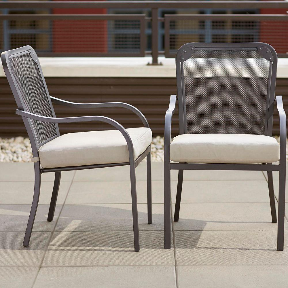 Hampton Bay Vernon Hills Stationary Patio Dining Chair With Beige Cushions  (2 Pack)