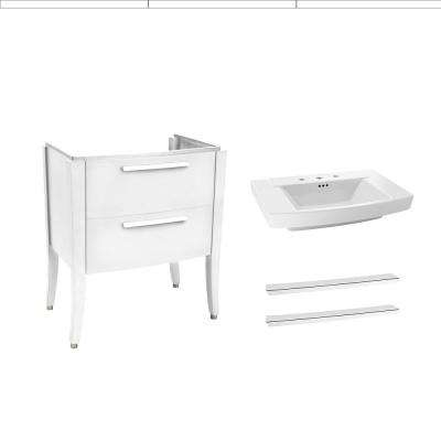 Townsend 30 in. Bath Vanity in White with Fireclay Vanity Top in White with White Basin