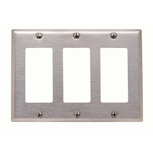 Stainless Steel 3-Gang Decorator/Rocker Wall Plate (1-Pack)