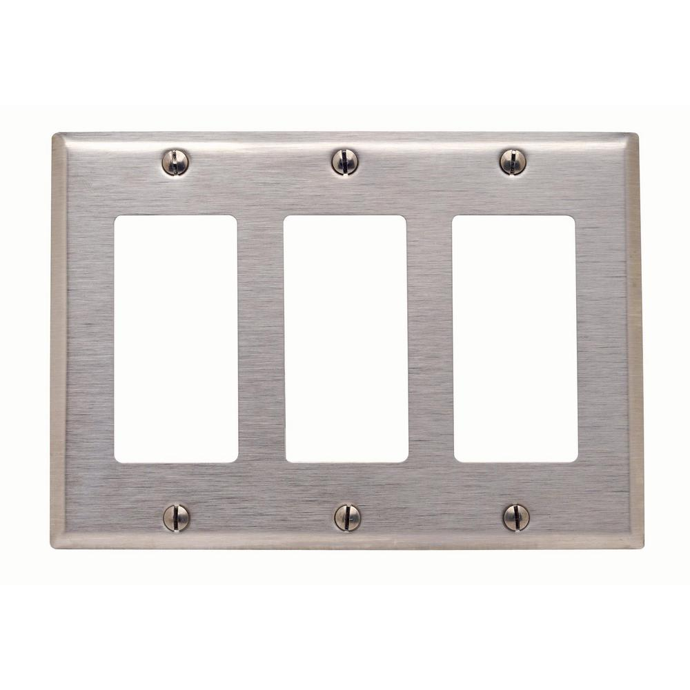 Leviton 3 Gang Decora Wall Plate Stainless Steel 84411 40