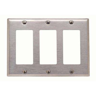 3-Gang Decora Wall Plate, Stainless Steel