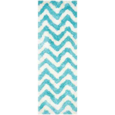 Barcelona Shag Ivory/Blue 2 ft. x 7 ft. Runner Rug