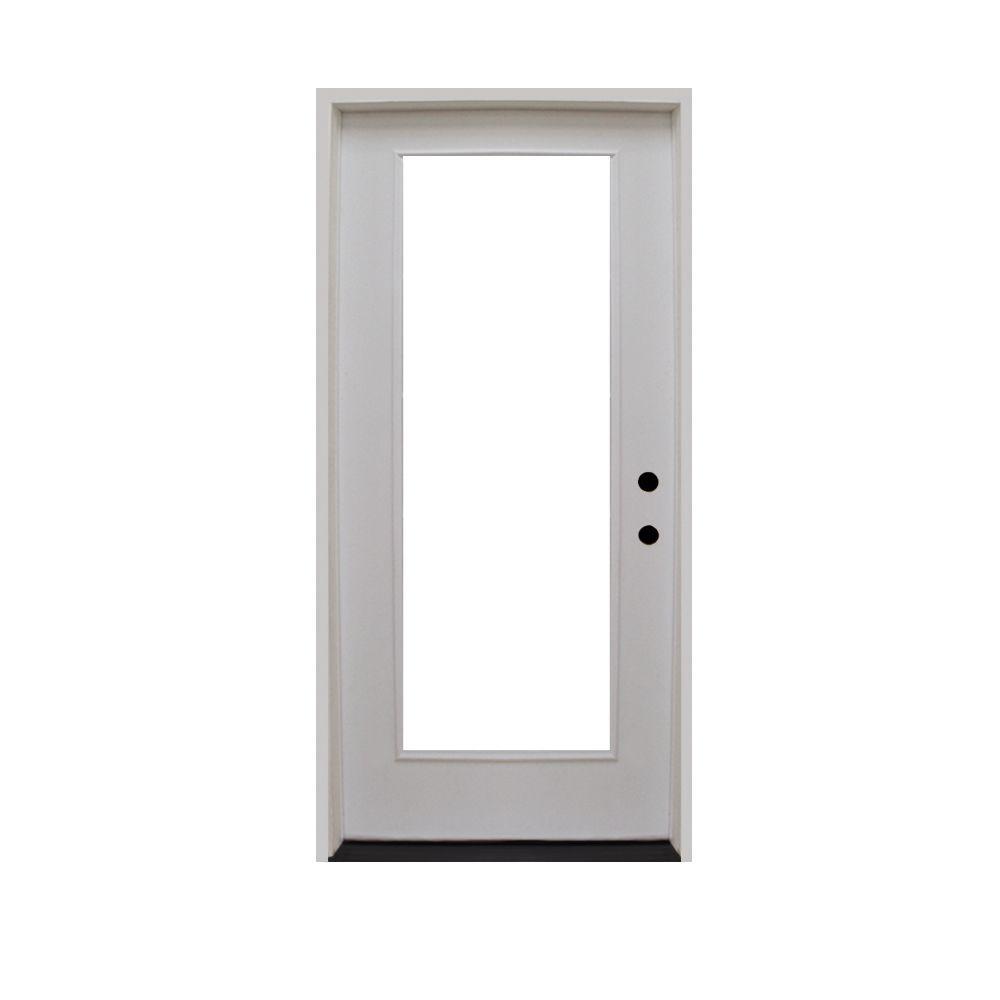 Steves Sons 32 In X 80 In Premium Full Lite Primed White Fiberglass Prehung Front Door Fgfl