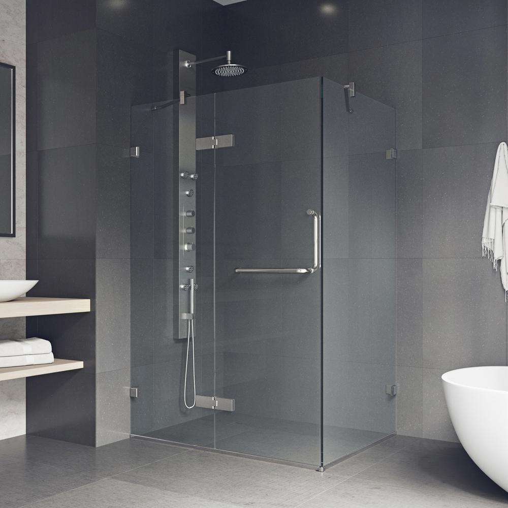 VIGO Monteray 46 in. x 73.375 in. Frameless Corner Hinged Shower ...
