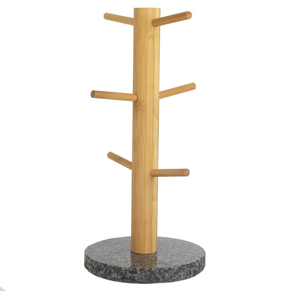 6-Hook White Mug Tree Bamboo Mug Tree Holder Stand Granite Base