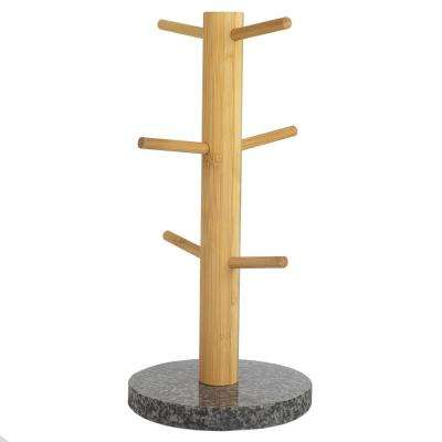 6-Hook White Mug Tree Bamboo Mug Tree Holder Stand Granite Base
