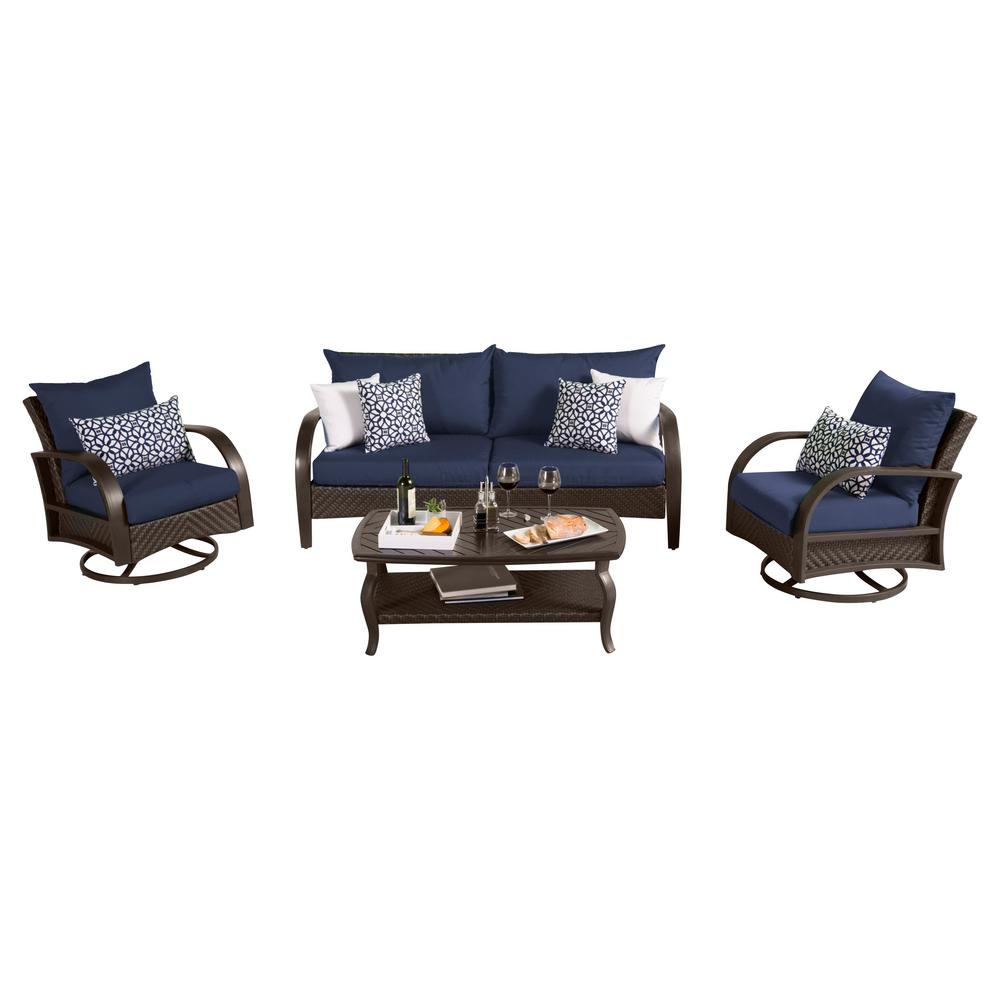 RST Brands Barcelo 4-Piece Motion Wicker Patio Deep Seating Conversation Set with Sunbrella Navy Blue Cushions