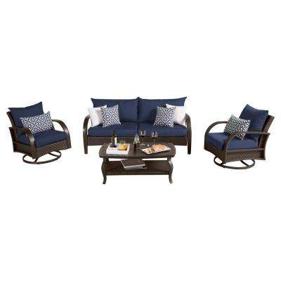 Barcelo 4-Piece Motion Wicker Patio Deep Seating Conversation Set with Sunbrella Navy Blue Cushions