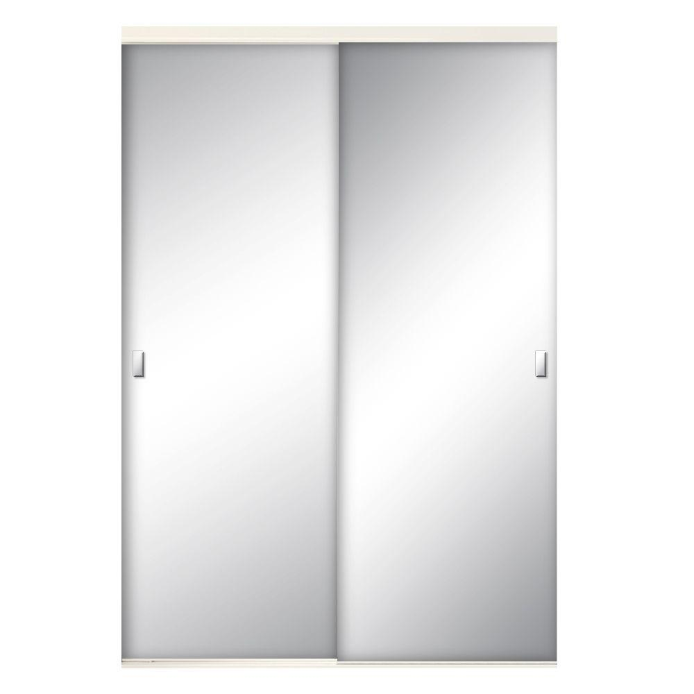 72 in. x 80-1/2 in. Brittany Steel White Mirrored Sliding Door-BRT Mirrored Closet Doors X on