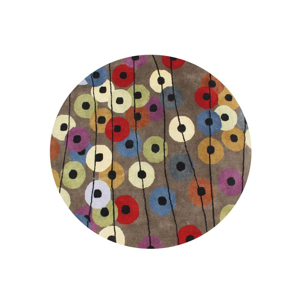 Multi Colored 8 Ft X 8 Ft Handmade Round Area Rug 20083