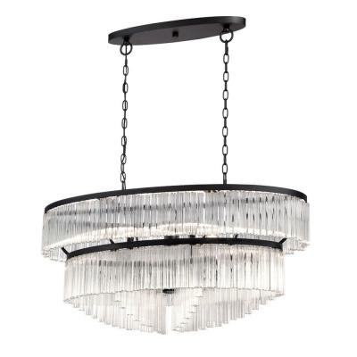 Ziccardi Collection 10-Light Oval Bronze Chandelier with Glass Shade