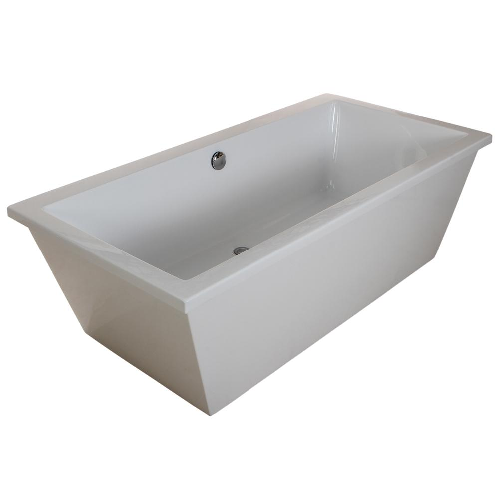 Contemporary 5.5 ft. Acrylic Flatbottom Rectangular Freestanding Bathtub in White