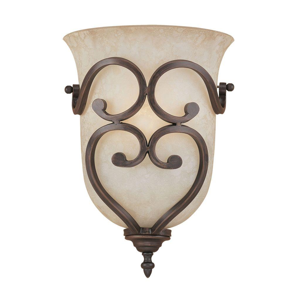Millennium Lighting 1-Light Rubbed Bronze Wall Sconce with Turinian Scavo Glass