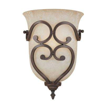 1-Light Rubbed Bronze Wall Sconce with Turinian Scavo Glass