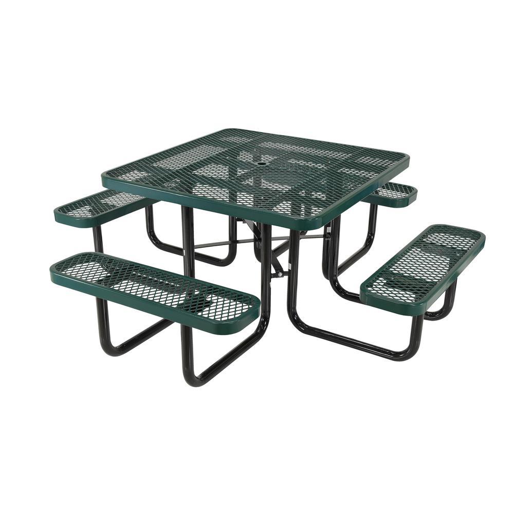 Green Picnic Table Exp Metal Square Top