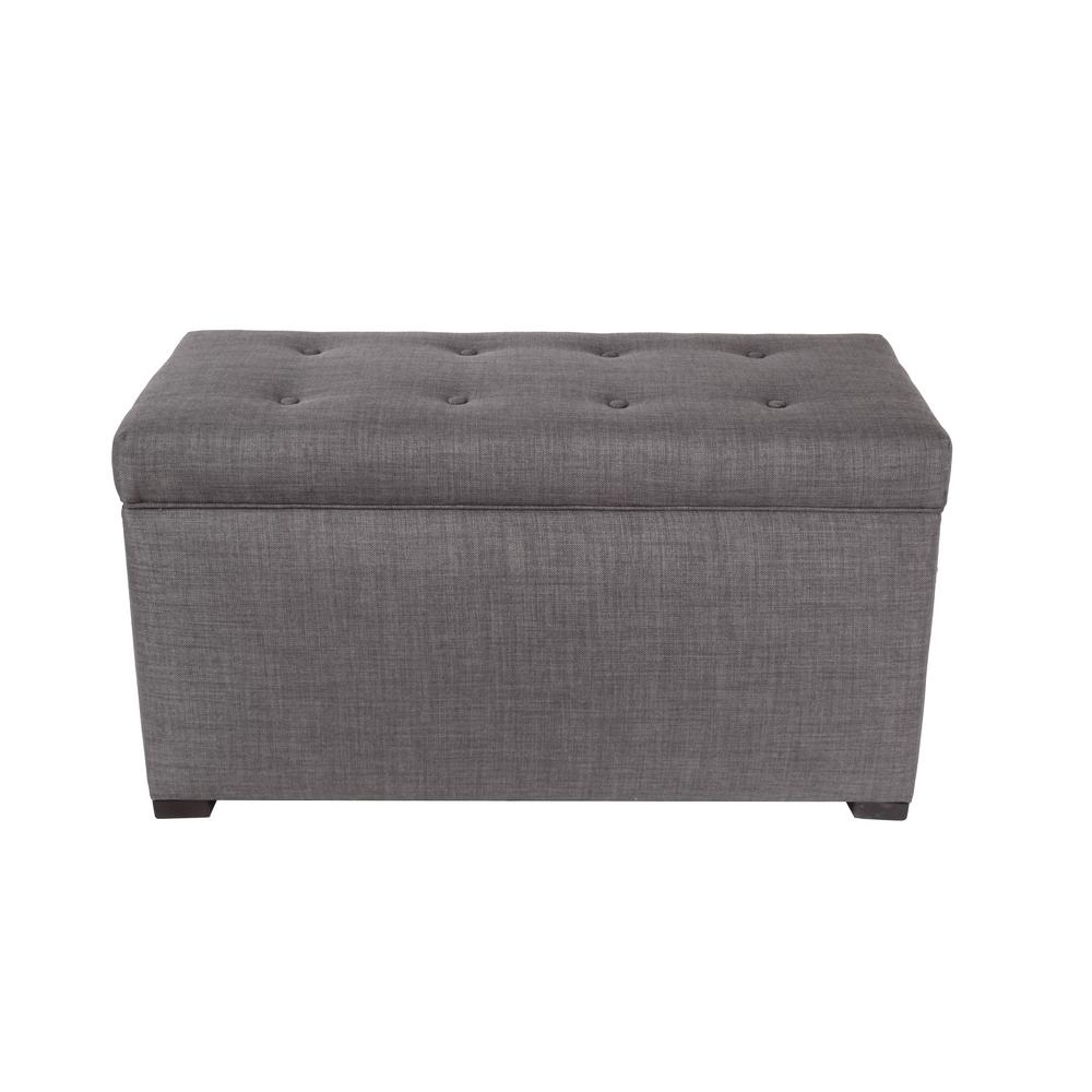 Angela HJM100 Gray/Red Tint Button Tufted Upholstered Storage Trunk