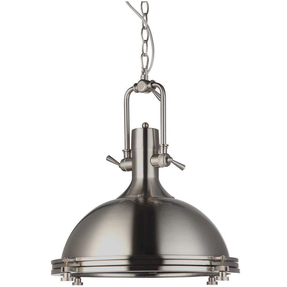 Satin Nickel Pendant Light Part - 22: VONN Lighting Dorado 1-Light 16 In. Satin Nickel LED Adjustable Hanging  Industrial Pendant