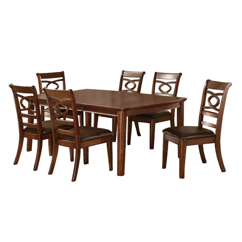 Venetian Worldwide Carlton 7-Piece Warm Cherry Dining Set-CM3149T ...